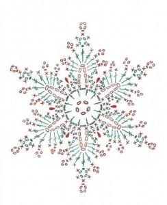 схема ажурной снежинки крючком