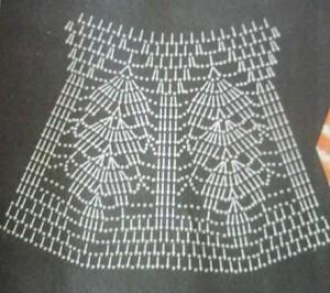 Простая летняя кофточка с ажурной кокеткой крючком, схема